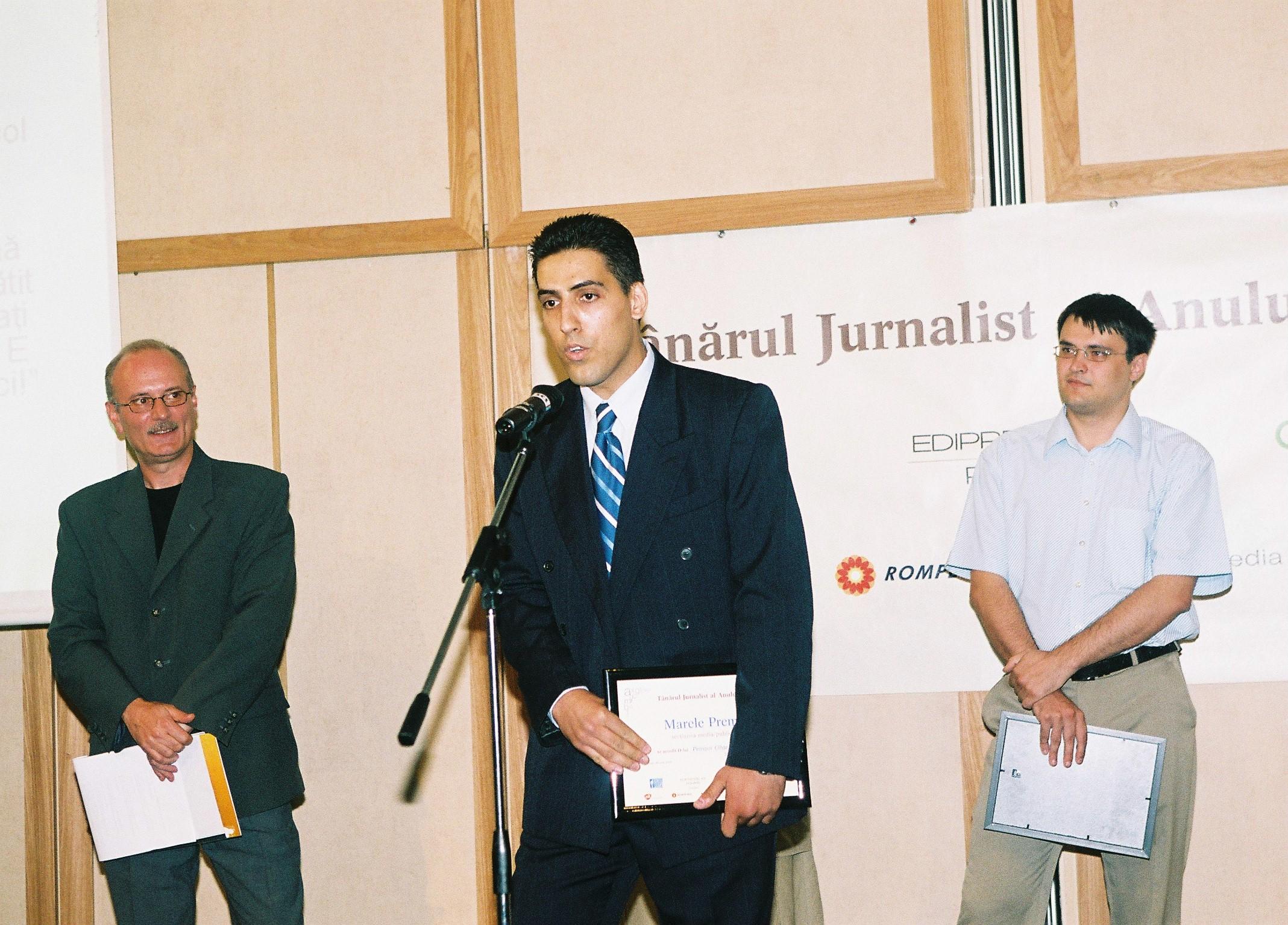 Petrișor Obae, fondatorul Pagina de Media, a fost Tânărul Jurnalist al Anului 2004